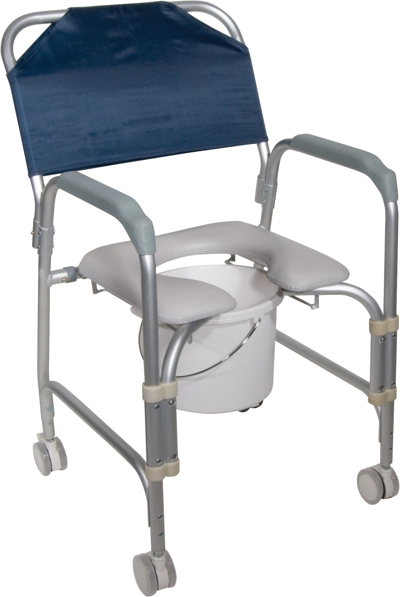 Alluminum Shower Chair & Commode w/ Casters Enlarged